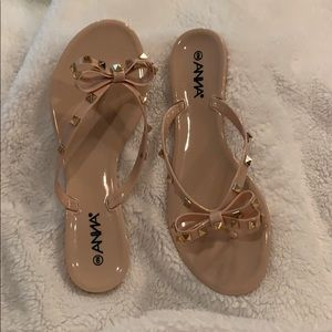 Anna Gold Stud Flip-Flops